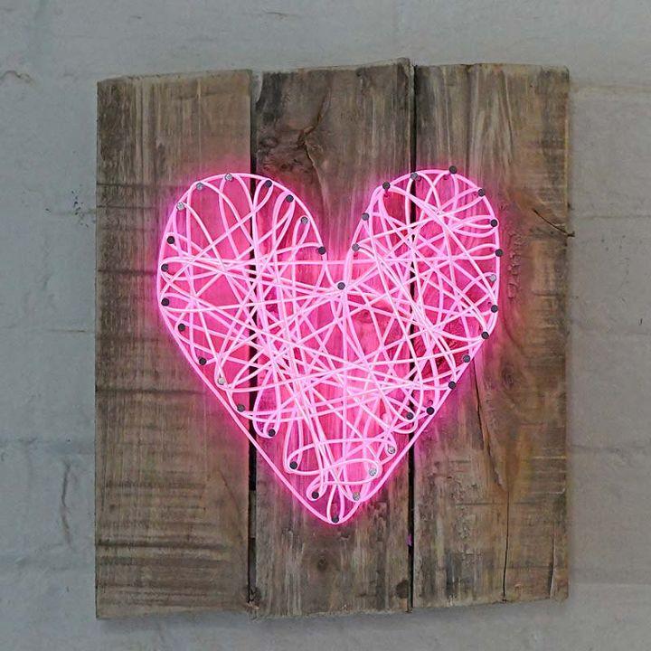 diy neon string heart