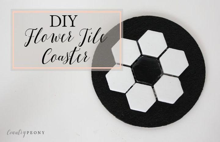 diy flower tile coaster