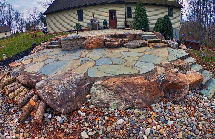 natural stone backyard makeover