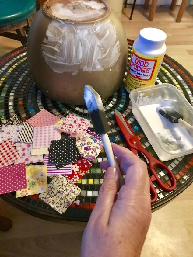 Using Mod Podge to stick fabric onto pot