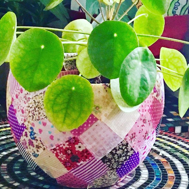 simple DIY  Patchwork Decoupage plant pot