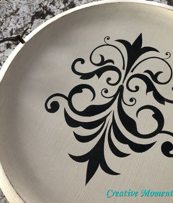 vintage round wood tray makeover