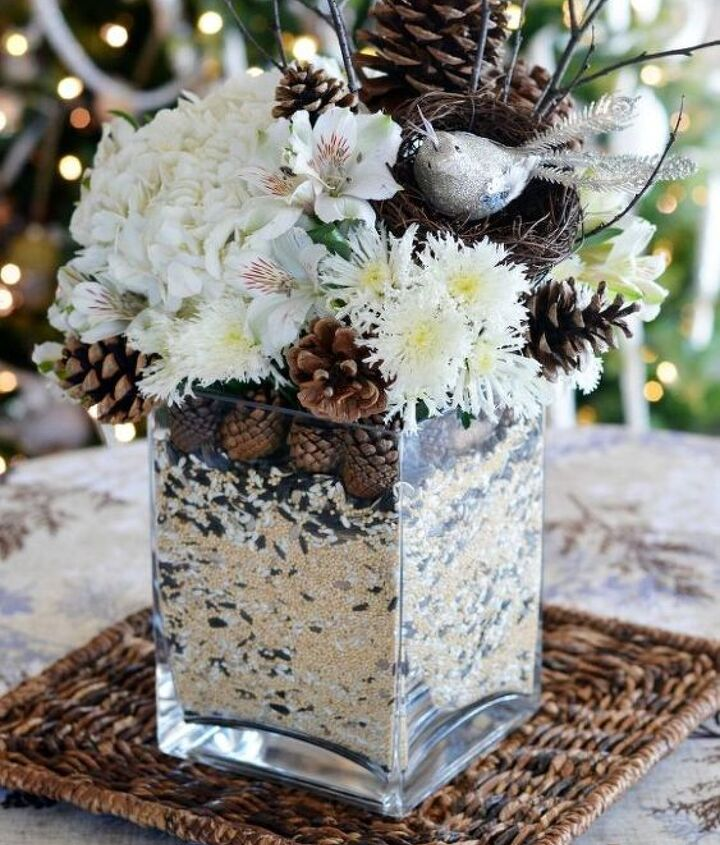 winter nesting floral arrangement and centerpiece