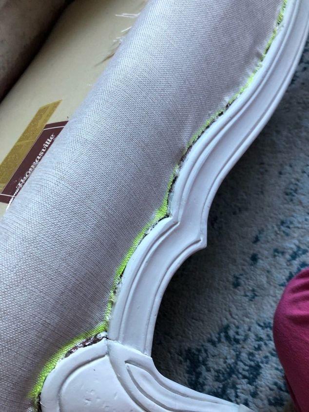 first upholstery project using hot glue gun