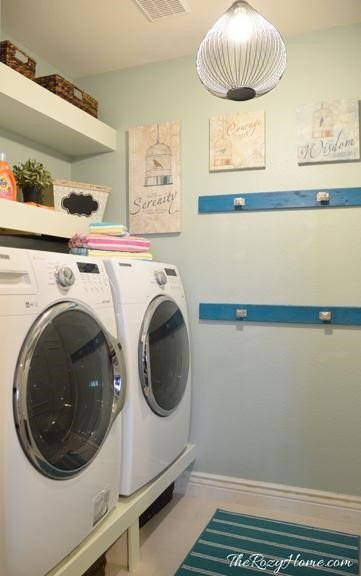 Decorating a Laundry Room on a Budget (The Rozy Home)