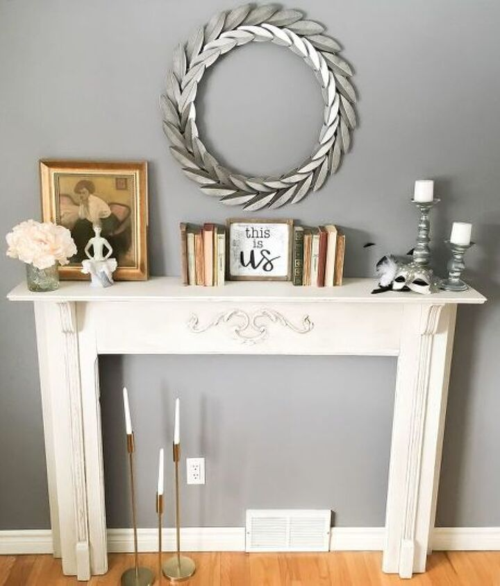 secondhand fireplace mantel makeover