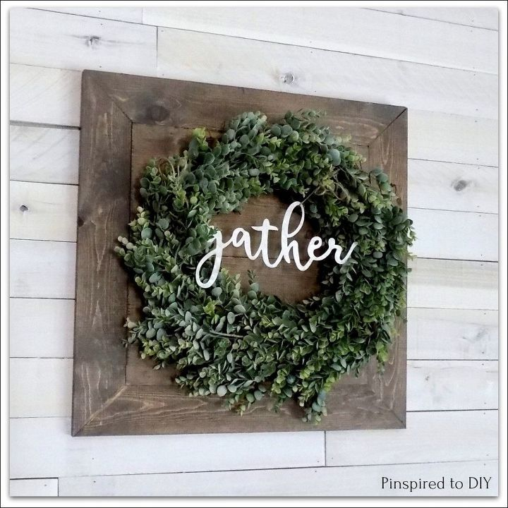diy farmhouse wreath with a rustic wood backing