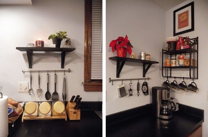 adding functional decor to an empty kitchen wall