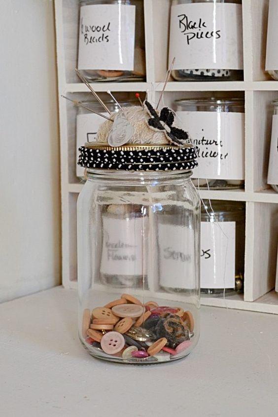 dollar store pincushion made from a mason jar and bath mat