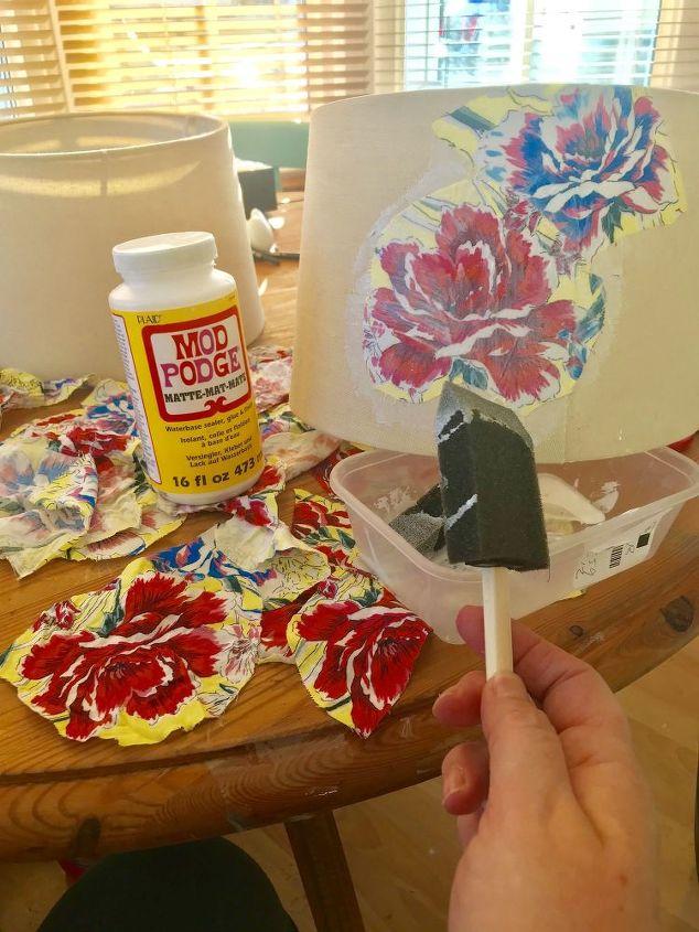 Use Mod Podge Matte to stick floral fabric  o