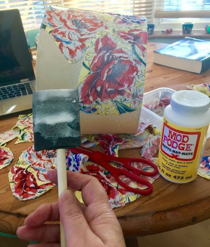 Stick and coat with Mod Podge