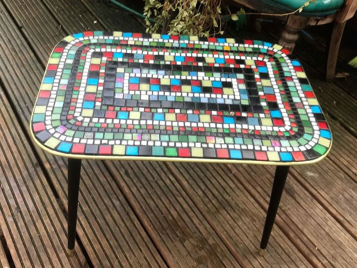 Vintage coffee table transformed with mosaic