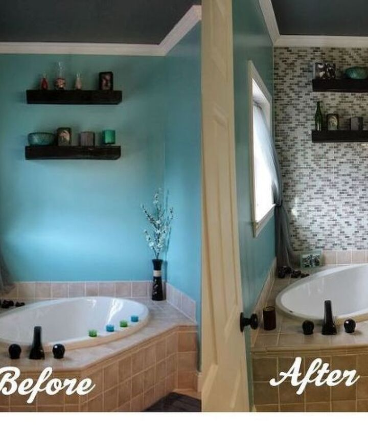 DIY Glass Tile Accent Wall in Master Bathroom (Paint Speckled Pawprints)