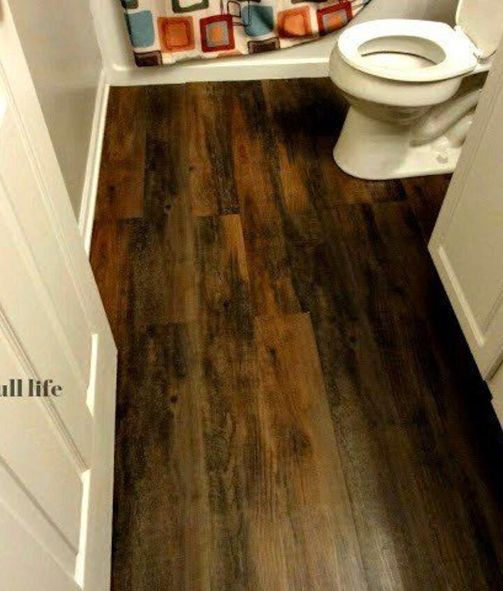 Peel and Stick Hardwood Floors for Your Bath (A Grace Full Life)