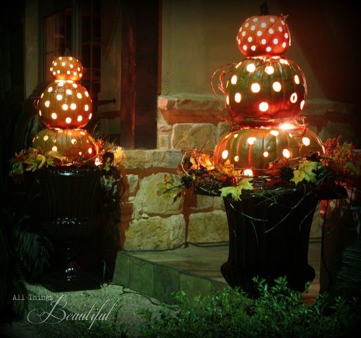 My First Fall Porch Installment...Pumpkin Topiary (Janis@All Things Beautiful)