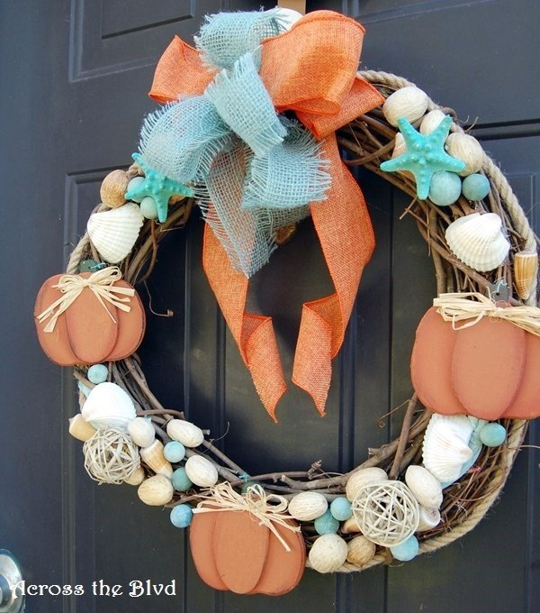 Going Coastal with Fall Decor ~ Coastal Fall Wreath (Beverly Roderick at Across the Blvd)
