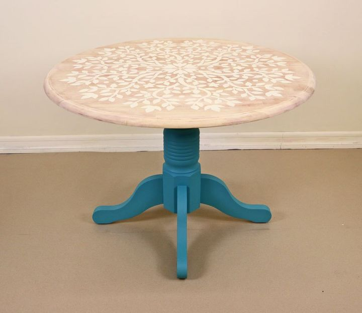 how to upcycle a wooden table with the tree of life mandala stencil