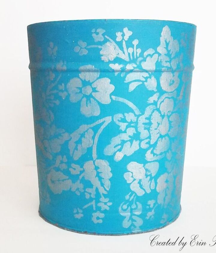 upcycled popcorn tin into a beautiful trash can