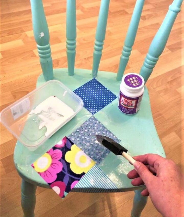 Glue and seal fabric fabric with Mod Podge