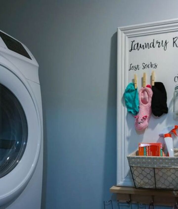 adorable laundry room storage from an old cabinet door