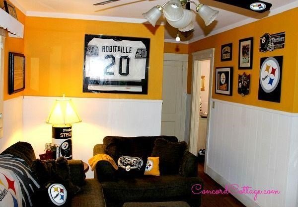 Sports Man Cave Ideas (ConcordCottage.com with Lisa Walsh Huff Kroll)