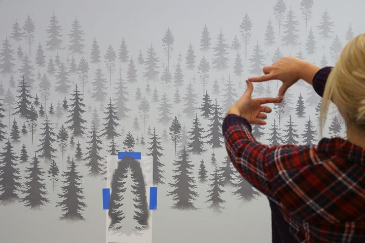 how to stencil a misty mountain wall mural