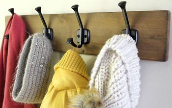 Easy DIY Hook Rack With Natural Wood Stain