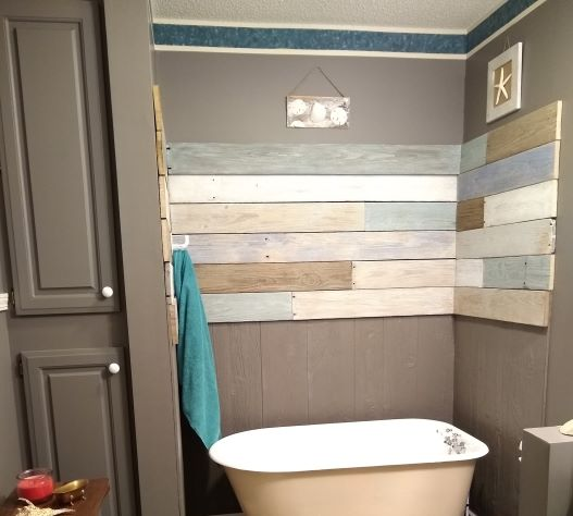 q how can i brighten the cabinet doors in this bathroom