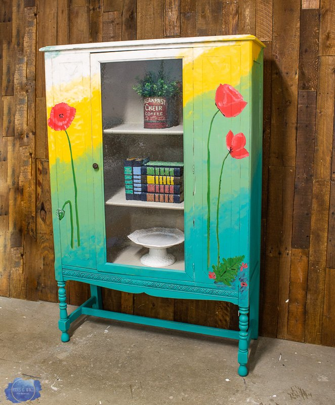 hand painted china cabinet makeover