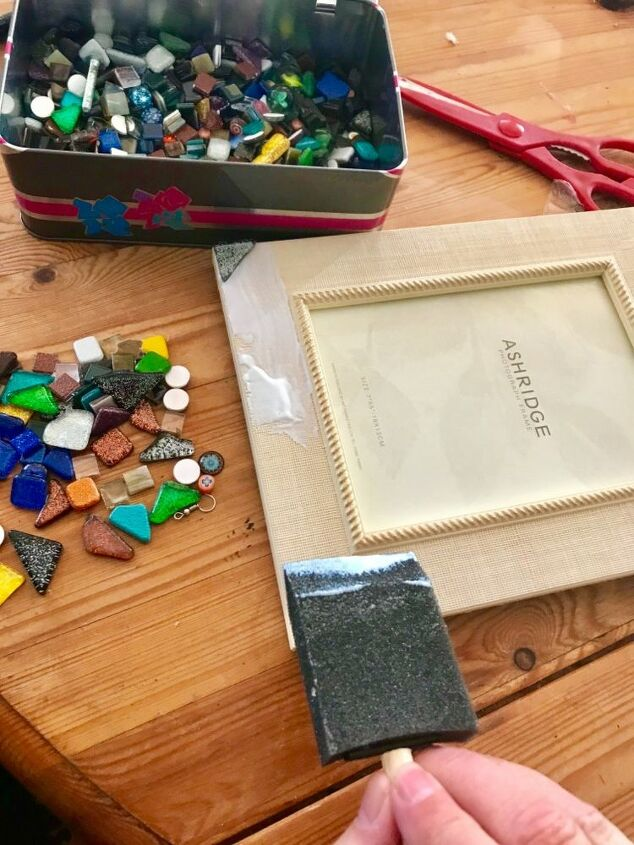 Glue glass mosaic tile to frame
