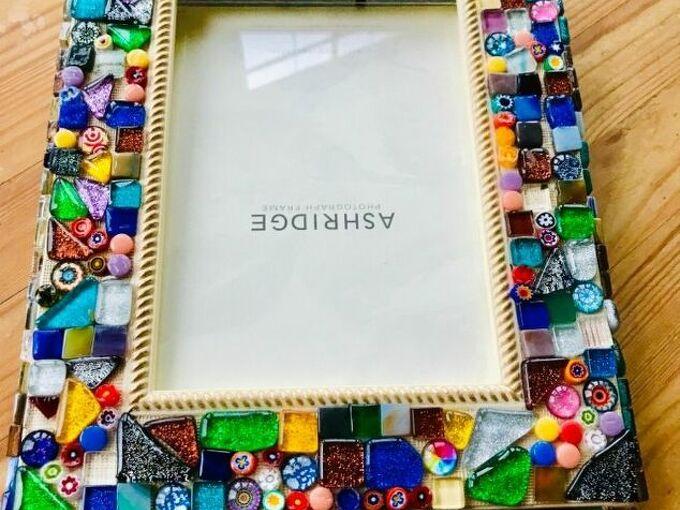 pretty mosaic photo frame, Mosaic glass tiles on frame