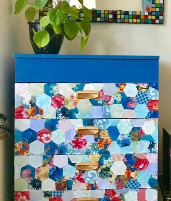 Pretty patchwork chest of drawers makeover
