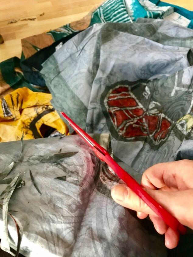 Cutting batik fabric