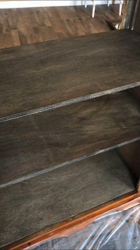 repurposed orange dresser into farmhouse pantry cabinet