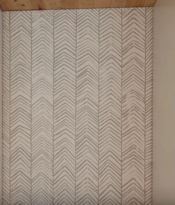 diy hand stamped herringbone accent wall