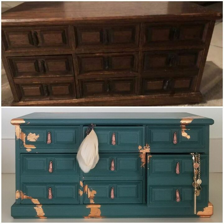 jewelry box makeover using metal leaf