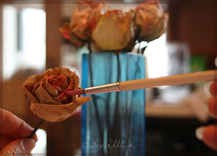dying dried roses with food coloring and furniture wax