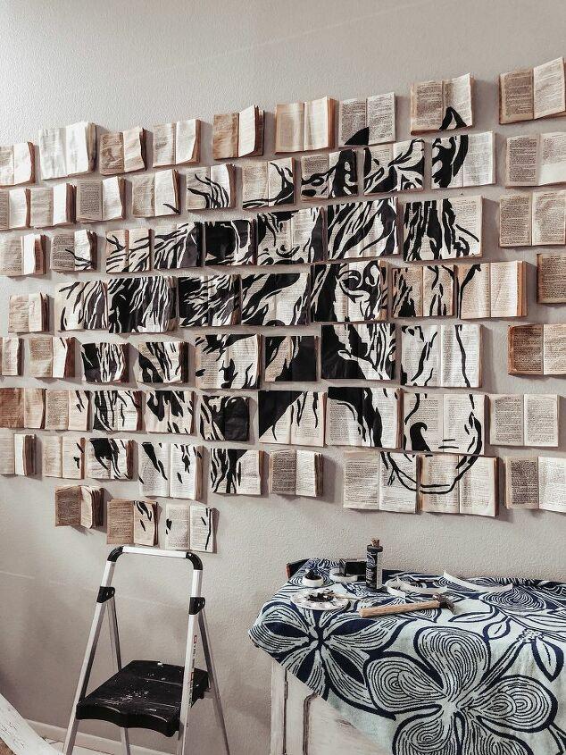 diy faux vintage book wall art installation
