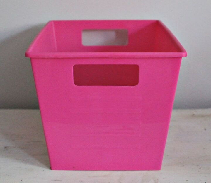 how to paint dollar store plastic bins to look like metal