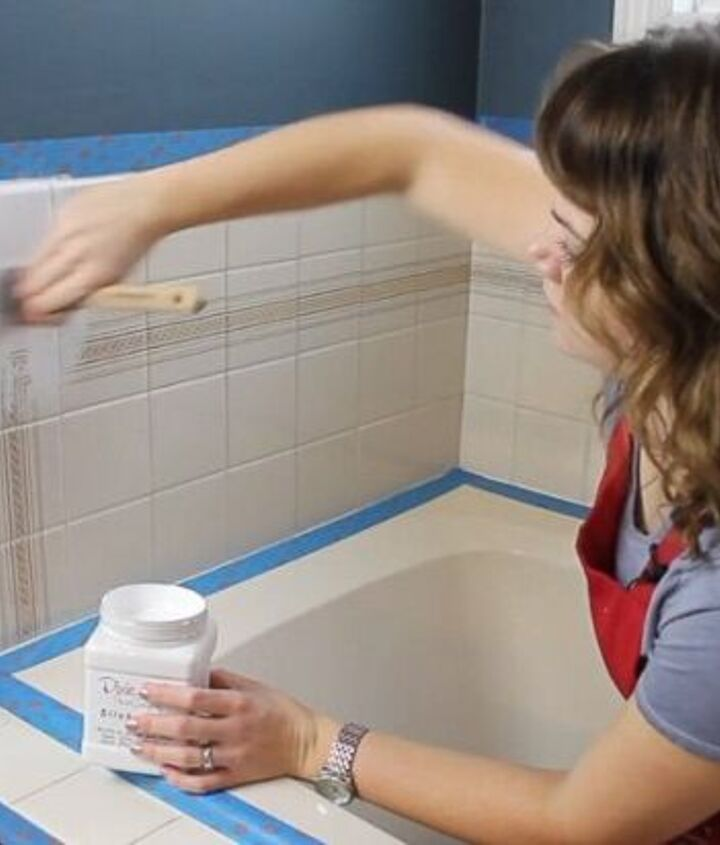 how to paint over that ugly bathroom tile