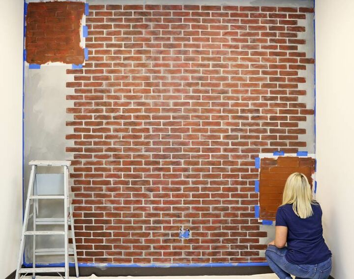 easily design a faux brick wall under 35