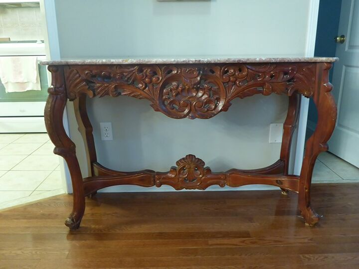 How To Paint A Console Table Rosewood Goes Rose Gold Diy Hometalk