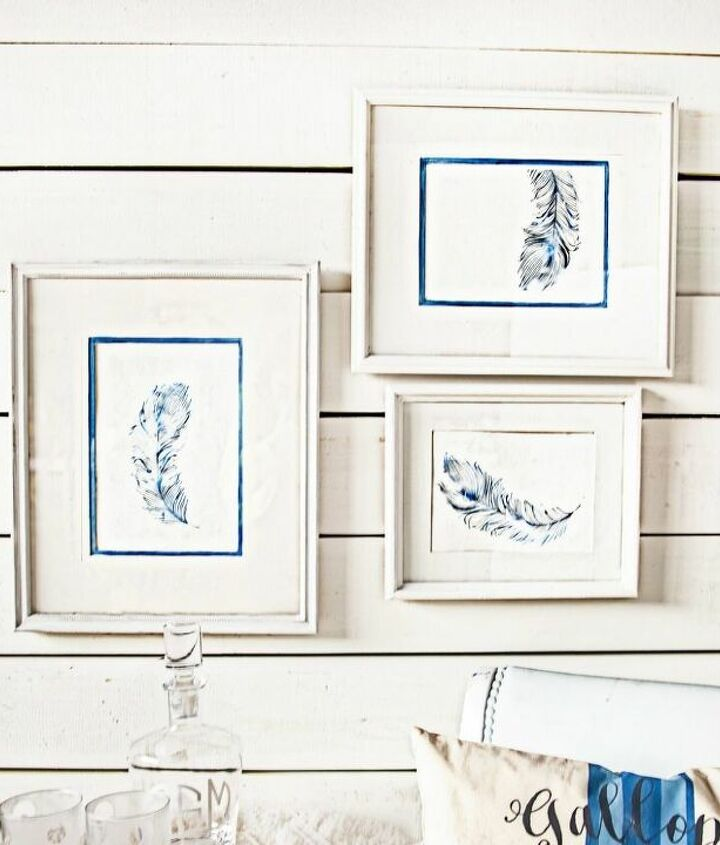 diy chic and modern framed feather art