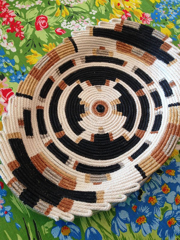 faux coil tribal painted basket