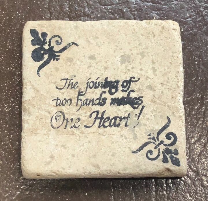 upcycle a stone coaster with a decoupaged napkin