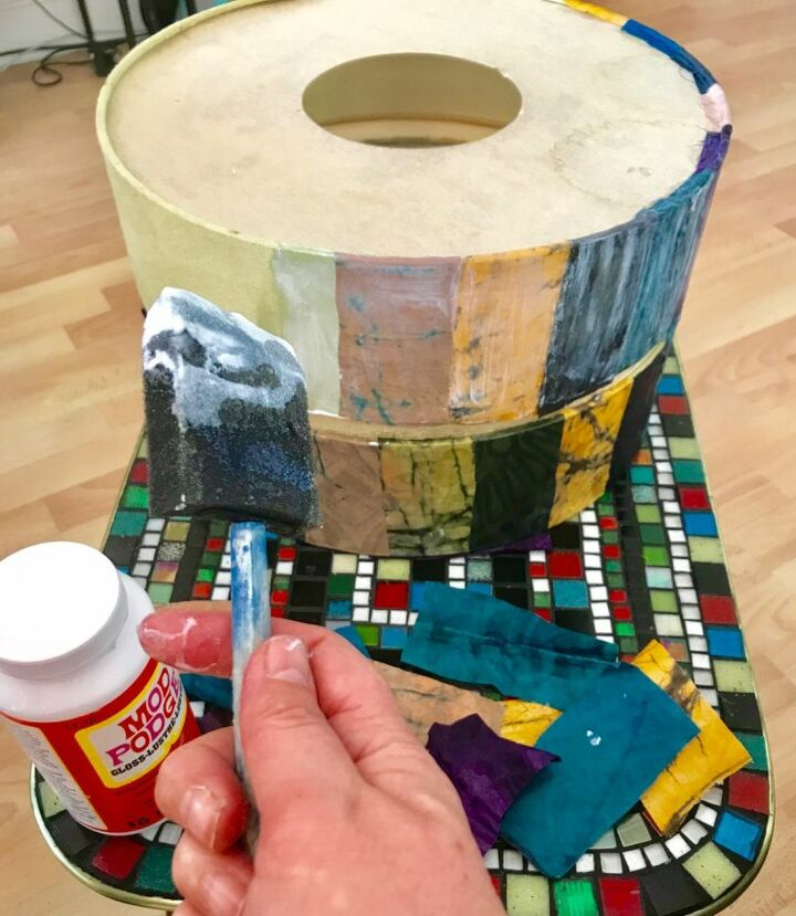 Mod Podge the fabric to the shade
