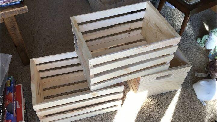 create a storage shelf with wood crates