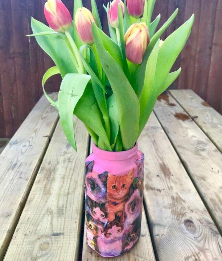 Cute cat vase from coffee jar