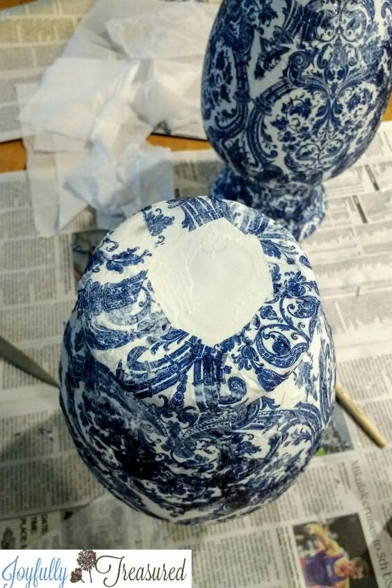 napkin decoupage vases blue and white chinoiserie vase diy craft idea