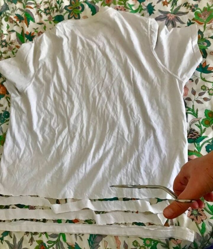Cut old t -shirt into inch wide strips.